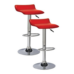 "Leick Furniture - ""Leick Furniture Adjustable Swivel Stool (Set of 2), Red"" - ""Heavy duty cylinders offer a versatile seat for counter height, bar height or anything in between.  Full swivel seats and sturdy footrests deliver comfort in this bold chrome and faux leather beauty.Dimensions (W x L x D): 15"""" x 15"""" x 25"""" to 34"""" highMaterial: Steel/Plywood/PUFinish: RedCountry of Origin: ChinaAdjustable heightSwivel seatHeavy gauge air cylinderSimple assembly. Seat height adjusts from 25"""" to 34"""". Steel and Plywood construction with Faux leather seat."""