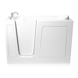 "Ariel - 52""L x ""30""W x 41""H Ariel Soaker Series Walk In Tub - Ariel Walk-in bathtubs combine safety and convenience. Unlike other tubs, Ariel walk-in bathtubs are made for a complete rejuvenation after a single use. Ariel Walk-In bathtubs come with a door and latch, built so that the user can relish in a private and extremely rejuventating bath. Interiors of the Ariel walk-in bathtubs are soothing; you will never want to get out of them. Many of our bathtubs also come with built in seats and slip resistant floors ensure safety for children and elderly.  Ariel 3052 Soaker Series     Dimensions: 52"" x 30"" x 41"" (LxWxH)  Soaker Series  ADA Compliant Walk In Bath Tub  17"" Seat Height and 23"" Wide  Free Standing Stainless Steel Support Frame with Adjustable Feet  High Gloss Triple Gel Coat  Heavy Duty Reinforced Fiberglass Resin Coated  Water Fill: 50 Gallons  UPC Drain  Safety Grab Bar  Heavy Duty Reinforced Door System  Contoured, Built In Seat  Built In Grab Bar and Textured Bottom  Faucet Accessory Deck Areas  Handheld Showerhead  Roman Faucets..."