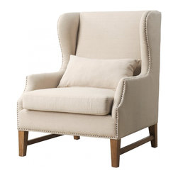 TOV Furniture - Devon Linen Wing Chair - Devon Wing Chair has the solid wood frame that ensures durability, removable seat cushion, and weathered reclaimed oak legs. Hand-applied antique nail head trim offers a delicate complement to the natural beauty of the linen.