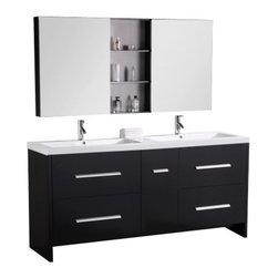 Design Element - Design Element DEC079B Perfecta 72 Inch Espresso Finish Double Sink Vanity Set - Design Element DEC079B Perfecta 72 Inch Espresso Finish Double Sink Vanity Set