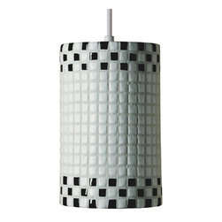 A19 - Checkers Pendant Black and White With Canopy - Fun and funky, Checkers will transport you back to 1920s and 1930s, with its high gloss and appealing checker-board pattern. Choose black-and-white or red-and-white for a cheerful option, or black-and-red for something more dashing