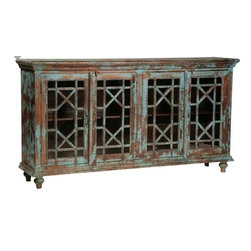 Mortise & Tenon Custom Furniture Store in Los Angeles - Vintage Distressed Blue Sideboard with Glass Paneled Doors - Sideboard with 4 doors/glass panels