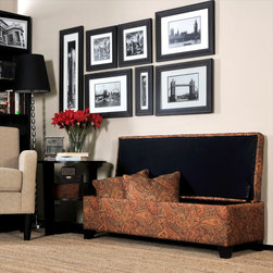 PORTFOLIO - Portfolio Blane Paisley Wall Hugger Bench Trunk Storage Ottoman - Store extra blankets and bedding in your guest room with this attractive paisley storage bench ottoman. Designed to fit against the wall even with the lid open,this long bench also provides an extra seating option that will complement your decor.