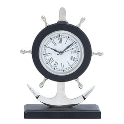 Benzara - Metal Anchor Clock with Attractive Design and Sturdy Base - Meticulously crafted based on the sailor's theme, this marvelous clock comes with a beautiful design and sports features that make it a priceless wall decor. The whole clock is modeled in a classic pattern that brings on an old world charm. The clock stand is placed in the midst of maritime symbols that establish a link with the sailor's theme. An elongated horizontal base is darkly shaded, and holds an anchor structure that houses the clock. The visually pleasing sailor's arms or the ship steering wheel forms the background and supports the clock ably. The time on the clock is denoted in roman numerals. The nautical symbols that provide the setting for this clock recreate the sailing excitement, and elevate the ambience in the study room. The clock is made of high quality aluminum and has a sturdy base that ensures endurance and long lasting performance. Besides being an a worthy decorative piece, it is also a good gifting option..