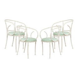 White Bamboo Bistro Chairs - Set of 4 - Dimensions 19.5ʺW × 21.0ʺD × 30.0ʺH