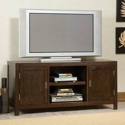"Home Styles - City Chic 44"" TV Stand - The City Chic TV Stand is a wonderful addition to any room with its modern chic flair. There are two storage cabinets, each with an adjustable shelf as well as an open storage compartment with a fixed shelf. The stand is made from poplar hardwood solids and birch veneers with a multi-step Espresso finish including a clear coat finish to help guard against wear and tear stemming from normal use. Features: -Contemporary style.-Simple lines and a comfortable functional design.-Can use for flat screen TV's up to 42''.-Distinctive brushed nickel campaign hardware.-Two wood framed doors.-Open center storage compartment with adjustable shelf for electronic components.-Convenient wire management openings.-Poplar solids with birch veneers construction.-City Chic collection.-Recommended TV Type: Up to a 42"" flat panel TV.-Finish: Espresso.-Powder Coated Finish: No.-Gloss Finish: No.-Material: Poplar solids and birch veneers.-Distressed: No.-Exterior Shelves: Yes -Number of Exterior Shelves: 1.-Adjustable Exterior Shelves: Yes..-Drawers: No.-Cabinets: Yes -Number of Cabinets: 2.-Number of Doors: 2.-Door Attachment Detail: Hinges.-Magnetic Door Catches: Yes.-Cabinet Handle Design: Finger pulls.-Number of Interior Shelves: 2.-Adjustable Interior Shelves: Yes..-Scratch Resistant (Scratch Resistant) : No.-Hardware Finish: Brushed steel.-Casters: No.-Accommodates Fireplace: No.-Fireplace Included: No.-Lighted: No.-Media Player Storage: Yes.-Media Storage: Yes.-Cable Management: Cable management opening.-Remote Control Included: No.-Batteries Required: No.-Swatch Available: No.-Commercial Use: No.-Collection: City Chic.-Eco-Friendly: No.-Recycled Content: No.-Lift Mechanism: No.-Expandable: No.-TV Swivel Base: No.-Integrated Flat Screen Mount: No.-Hardware Material: Brushed steel.-Non-Toxic: Yes.-Product Care: Clean with damp cloth.Specifications: -ISTA 3A Certified: Yes.-CARB Certified: Yes.-FSC Certified: Yes.Dimensions: -Overall Height - Top to Bottom: 26"".-Overall Width - Side to Side: 44"".-Overall Depth - Front to Back: 18"".-Shelving: -Shelf Height - Top to Bottom: 15.5"".-Shelf Width - Side to Side: 18"".-Shelf Depth - Front to Back: 18.75""..-Cabinet: -Cabinet Interior Height - Top to Bottom: 18.75"".-Cabinet Interior Width - Side to Side: 9.5"".-Cabinet Depth - Front to Back: 15.5""..-Overall Product Weight: 85 lbs.Assembly: -Assembly Required: Yes.-Tools Needed: Phillips screwdriver.-Additional Parts Required: No.Warranty: -Product Warranty: Vendor replaces parts for 30 days."
