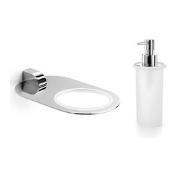 WS Bath Collections - Muci Wall Mounted Soap Dispenser - Muci by WS Bath Collections Bathroom Single Holder in Polished Chrome with Soap Dispenser in Frosted Glass, Solid Brass Base, Made in Italy