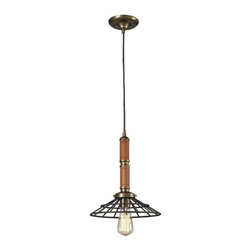 Elk Lighting - Elk Lighting-65138-1-Spun Wood - One Light Pendant - The Spun Wood Collection Combines The Warmth Of Genuine Turned Wood With A Restoration Style Cage. The Finishes Accentuate The Material Combinations Which Include Mahogany Finished Wood, Natural Brass Accents, And A Vintage Rust Cage Or Washed Pine With Polished Nickel Accents And Cage.