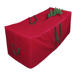 None - Red 58-inch Christmas Tree Storage Bag with Wheels - This red 58-inch Christmas tree storage bag with wheels is holiday storage convenience at its finest. Replace that aged cardboard box with storage that will last.