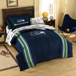 Northwest Co. - NFL Seattle Seahawks Bed in Bag Set - Web Description: Make a proud statement in your room for your favorite NFL team with our 5 piece Bed in a Bag Set. Whether game night or just another night for sleeping, the bold and large applique logo stands out against the solid color background and team color accented stripes, making quite the impression. This polyester/cotton blend set comes with 1 sham, 1 pillowcase, 1 flat sheet, 1 fitted sheet and 1 applique comforter.