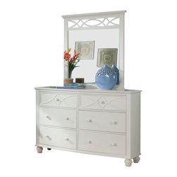 Homelegance - Homelegance Sanibel 6-Drawer Dresser with Mirror in White - As breezy as a day at the beach, the modern cottage styling of the Sanibel collection will meld effortlessly with your casual personal style. Diamond overlay curves throughout the entire collection - capping the headboard then carrying on to the gracefully bowed case pieces. The versatility of the design lends to the perfect placement in a master suite, guest or child s bedroom. The collection is offered in Black or White.