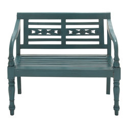 Cool in Green Wood Mahogany Bench - Description: