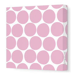 "Avalisa - Pattern - Dots Stretched Wall Art, 18"" x 18"", Light Pink - What is it about polka dots? They're just circles, but en masse they make even the worst day a little better. Add some instant cheer to your wall with these dots in eye-popping colors. Each comes in your choice of sizes — or hang several together for some oom-pah-licious fun."