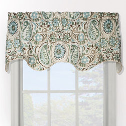None - Paisley Prism Duchess Filler Valance - Brighten up any window with this charming corded valance featuring a paisleys,prisms,and floral motif. The spa blue,teal and light brown hues add flair to any decor. This fully lined filler valance features rod pockets and is easy to install.