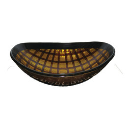 Novatto - GRATA Brown and Gold Grid Patterned Hand Painted Glass Vessel Sink - Grata, from the exclusive hand painted vessel collection of Novatto, adds a touch of style and class to any decor. Constructed of high tempered glass, this round vessel sink features a beautiful bold grid pattern of brown and gold tones. The matching faucet disc directs the water flow into a graceful waterfall. Faucet sold separately. Novatto uses advanced technology, including computerized glass processing, to produce glass basins with unmatched structural integrity and longevity. In-house testing has found these glass vessels to be very durable and forgiving. Items such as toothbrushes or small jewelry should not scratch the surface. For best cleaning results, a soft cloth with mild soap and water or a non-abrasive glass cleaner is recommended. Made with the highest standards of quality and creative design, Novatto sinks add art and function to any bath or powder room at an affordable price.