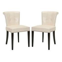 Safavieh - Arion Ring Chair (Set Of 2) - Flat Cream - The bent back of the Arion dining chair, in flat cream leather upholstery and espresso finish on birch legs, gets a classic dressed-up punch thanks to exposed nail heads and cleaver metal ring on its back. Button tufts on the front of the tapered backrest and generous cushions make it a handsome seat.