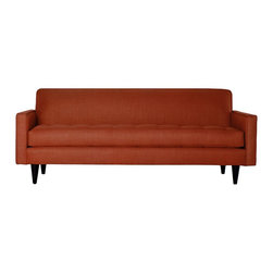 Apt2B - Monroe Sofa, Tangerine - With a Mad Men-esque silhouette, The Monroe is a perfect way to add a hip factor to any room. The clean lines and simple shape make it perfect for any small space. It packs a big punch without taking up a lot of square footage. Each piece is expertly handmade to order in the USA and takes around 2-3 weeks in production. Features a solid hardwood frame and upholstered in a 100% polyester fabric.