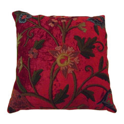 Crewel Fabric World - Crewel Pillow Sham Tree of Life Bright Red Cotton Viscose Velvet 16x16 Inches - Artisans in a remote mountain village in Kashmir crewel stitch these blossoms, vines and leaves by hand, resulting in a lush pattern of richly shaded wool yarns on Linen, Cotton, Velvet, Silk Organza, Jute. Also backed in natural linen, Cotton, Velvet Silk Organza, Jute with a hidden zipper.