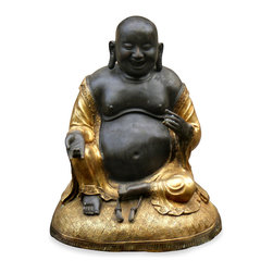 China Furniture and Arts - Hand Forged Bronze Happy Buddha - He is a symbol of happiness, wealth, and an innocent contented joy. The stroking of Buddha's belly is said to signify bountiful wealth and prosperity. Believed to bring much luck, the laughing Buddha must always be invited into his new home, resulting in positive Chi and much happiness in return. Completely hand made by artisans in China. Stand sold separately at $239.00, please see Part No. BJFSSEF.