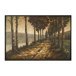Uttermost - Majestic Lane Hand Painted Art - A lovely allee, or walkway with trees, depicted in Autumn, beckons the ambler in you. This majestic lane, hand-painted, framed oil on canvas, is both meditative and serene. Whether inspired by the French countryside or a New England riverside promenade, you will want to jump into the world of this painting.
