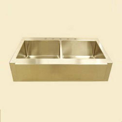 Empire Industries F42D Farm 42 Double Sink in Gold - I agree, gold fixtures in a kitchen or bath can easily look dated and garish. However, this modern farm sink is quickly changing my mind. Then again, who wouldn't want to wash up in a huge gold brick? Or is it just me? Doing dishes just got fancy.