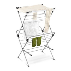 "2-Tier Mesh Top Drying Rack 33 Linear Feet - Honey-Can-Do DRY-01104 2-tier Mesh Top Drying Rack, Silver with Blue.  Dry your clothes without an energy consuming dryer even on rainy days with this handy 2-tiered drying rack. For indoor or occasional outdoor use, the rack is made from a coated steel frame making it sturdy and rust-resistant. Unlike a wall-mounted unit, this portable rack can be used anywhere including; the laundry room, balcony, porch, bathroom, or kitchen and folds down to 2"" flat for easy storing. A top mesh shelf is ideal for air-drying delicate items such as sweaters, hosiery, and lingerie. With an incredible 33-linear feet of capacity to air-dry clothes using minimal floor space, this expandable drying rack is a great space-saver."
