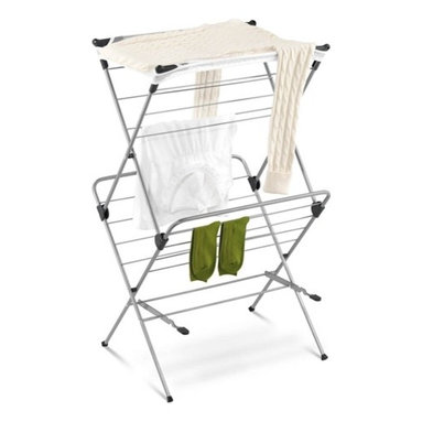 """2-Tier Mesh Top Drying Rack 33 Linear Feet - Honey-Can-Do DRY-01104 2-tier Mesh Top Drying Rack, Silver with Blue.  Dry your clothes without an energy consuming dryer even on rainy days with this handy 2-tiered drying rack. For indoor or occasional outdoor use, the rack is made from a coated steel frame making it sturdy and rust-resistant. Unlike a wall-mounted unit, this portable rack can be used anywhere including; the laundry room, balcony, porch, bathroom, or kitchen and folds down to 2"""" flat for easy storing. A top mesh shelf is ideal for air-drying delicate items such as sweaters, hosiery, and lingerie. With an incredible 33-linear feet of capacity to air-dry clothes using minimal floor space, this expandable drying rack is a great space-saver."""