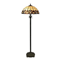 "16"" Bedroom Tiffany Style Floor Lamp - Tiffany lamps have been a staple in interior design since they were first introduced in 1880s by Charles Lewis Tiffany. Originally made up of discarded pieces of stained glass, the Tiffany lamp was thought of as a piece of art in addition to a light source. More often than not, these lamps are used as accent pieces to enhance the decor in a room with timeless elegance."