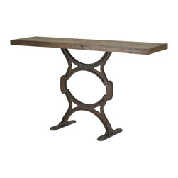 Currey & Company - Factory Console Table - The factory console table is made from reclaimed wood and iron. Clean with a dry cloth and wax periodically. Do not expose to direct sun, the wooden top may warp. Each table is truly one of a kind. Inconsistent colors, grains and unevenness are an inherent part of the wooden top. Wipe spills immediately with soft dry cloth. Always use coasters or mats. Never place cups, glasses or anything hot directly on the surface. This could cause discoloration.