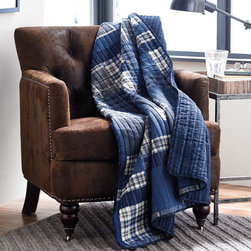Eddie Bauer - Eddie Bauer Eastmont Reversible Cotton Quilted Throw - The Eddie Bauer Eastmont reversible quilted throw is a great addition to any room in your home. Constructed of 100-percent cotton,this cozy throw features a patchwork pattern in a blue and navy finish. Machine washable for easy care and repeated use.
