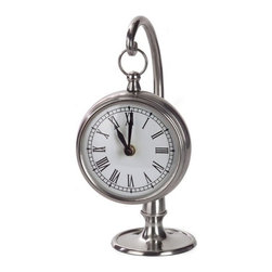 """IMAX - Pewter Finish Hanging Clock - Round pewter desk clock, hangs on stand Item Dimensions: (9.5""""h x 4.75""""w x 4"""")"""