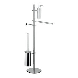 "WS Bath Collections - WS Bath Collections Bloom 2806 Bathroom Accessory Stand - Bloom 2806, 15.4"" x 9.1"" x 36.2"", Bathroom Accessory Stand with Soap Dispenser, Toilet Brush Holder, Toilet Paper Holder, and Towel Bar in Polished Chrome"