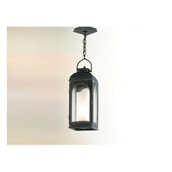Troy Lighting - Derby Hanger Light - Derby Hanger Ligh features a cast aluminum frame with an antique iron finish and a clear seeded glass shade and is available in an incandescent or compact fluorescent version. One 75-watt, 120 volt A19 medium base incandesent bulb is required or one 26-watt, 120 volt GU24 compact fluorescent bulb comes inlcuded. Dimensions: 7.75W x 22.25H