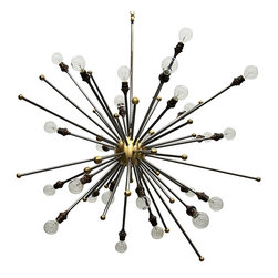 Sputnik Chandelier - The exuberance of a starburst design combines with the classic sensibility of brass in the Sputnik Chandelier, a handsome transitional piece that's perfect as a primary light source for a large room. Displaying its remarkable complement of bulbs on long stalks of metal, this playful but upscale piece sets the tone for a dramatic, personalized room.