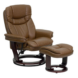 Flash Furniture - Contemporary Palimino Leather Recliner and Ottoman with Swiveling Mahogany Wood - There's no better way to enjoy a movie, a book or just some down time than in a recliner. This set features thickly padded arms and tastefully exposed wood frames. This uniquely designed recliner features a ball-bearing swiveling base that makes swiveling effortless. This set is not only perfect in the home, but makes for a great addition in the office. The durable leather upholstery allows for easy cleaning and regular care.