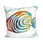 "Trans-Ocean Inc - Rainbow Fish Pearl 20"" Square Indoor Outdoor Pillow - The highly detailed painterly effect is achieved by Liora Mannes patented Lamontage process which combines hand crafted art with cutting edge technology. These pillows are made with 100% polyester microfiber for an extra soft hand, and a 100% Polyester Insert. Liora Manne's pillows are suitable for Indoors or Outdoors, are antimicrobial, have a removable cover with a zipper closure for easy-care, and are handwashable.; Material: 100% Polyester; Primary Color: Green;  Secondary Colors: blue, green, pearl, pink, purple; Pattern: Rainbow Fish; Dimensions: 20 inches length x 20 inches width; Construction: Hand Made; Care Instructions: Hand wash with mild detergent. Air dry flat. Do not use a hard bristle brush."