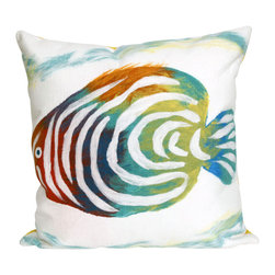 """Trans-Ocean Inc - Rainbow Fish Pearl 20"""" Square Indoor Outdoor Pillow - The highly detailed painterly effect is achieved by Liora Mannes patented Lamontage process which combines hand crafted art with cutting edge technology. These pillows are made with 100% polyester microfiber for an extra soft hand, and a 100% Polyester Insert. Liora Manne's pillows are suitable for Indoors or Outdoors, are antimicrobial, have a removable cover with a zipper closure for easy-care, and are handwashable.; Material: 100% Polyester; Primary Color: Green;  Secondary Colors: blue, green, pearl, pink, purple; Pattern: Rainbow Fish; Dimensions: 20 inches length x 20 inches width; Construction: Hand Made; Care Instructions: Hand wash with mild detergent. Air dry flat. Do not use a hard bristle brush."""