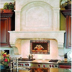 the Normandie Kitchen Range Hood- Francois & Co. - The Normandie is a magnificent range hood with subtle architectural details. The elegant shelf with an arched opening is complemented with a substantial stack. The Normandie stack has a thick burrow-like and tunnel border that aims at showcasing the rope molding decoration at its center. The border is framed by two pilasters.