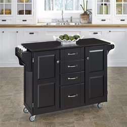 HomeStyles - 17.75 in. Kitchen Cart in Black Finish - This sleek, granite counter top kitchen cart is a great addition to your home! With its easy clean surface for sanitary food prep, this piece also features a handy drawers, a side rack and a black finished cabinets. * Four easy open drawers. Black granite top. Two large cabinets and outdoor compartments. At one end there is a spice-condiment rack with a towel bar while the other end features a paper towel holder. Consists four heavy duty locking rubber casters for easy mobility and safety. Clear coat finish helping to protect against wear from normal use. Made from wood and veneer. Assembly required. 48 in. L x 17.75 in. W x 35.5 in. HHome Styles' Creat-a-Cart is a unique and refreshing solution for kitchen utility. Enjoy simple elegance with this lovely kitchen cart!