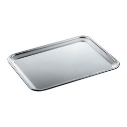 Alessi - Alessi Rectangular Tray - Serve up your appetizers in style with this sleek tray. Designed by Ufficio Tenico Alessi, the stainless steel finish is highlighted by the mirror polished edge which adds glamour and sophistication to your next dinner party.