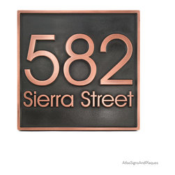 "Modern Advantage Address Plaque 13"" square in Copper Patina - The Modern Advantage Address Plaque is a great, no frills address plaque. Its features your house's address numbers as well as your street name. It is presented with the very popular Modern Advantage font and looks sharp on just about any modern home. This is your opportunity to enjoy one of the best selling plaques in terms of font and style that we offer! Enjoy the Modern Advantage today!"