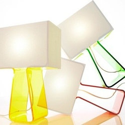 Pablo Lighting Tube Top Color Lamp - I love the fun pop of color on these sleek lamps.