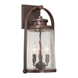 "Minka Lavery - Country - Cottage Travessa Bronze 16 1/2"" High Outdoor Wall Light - From the Minka Lavery Travessa Collection comes this handsome architec bronze outdoor wall light. Copper highlights are paired with clear crackle glass and durable aluminum construction for a classic look and feel that works with any home. This design looks great near garage doors entryways and porches and offers a warm soft glow so you can feel both safe and stylish. Aluminum construction with cast elements. Clear crackle glass. Architec bronze finish. Copper highlights. Metal candle sleeves. Takes three 60 watt candelabra base bulbs (not included). 16 1/2"" high. 9 1/2"" wide. Extends 8 3/4"" from the wall.  Aluminum construction with cast elements.  Clear crackle glass.  Architec bronze finish.  Copper highlights.  Metal candle sleeves.  Takes three 60 watt candelabra base bulbs (not included).  16 1/2"" high.  9 1/2"" wide.  Extends 8 3/4"" from the wall."