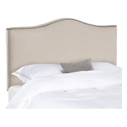 Safavieh - Jeneve Queen Camelback Headboard - Taupe - Create a serenely elegant bedroom or master suite with the soft camelback silhouette of the Jeneve full/queen size headboard. Elegant brass nailhead trim contrasts soft taupe linen upholstery in this impeccably crafted piece, which will transform any space into an oasis of relaxed sophistication. Attaches to any standard size metal frame bed.