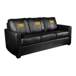 Dreamseat Inc. - US Marines Semper Fi Xcalibur Leather Sofa - Check out this incredible Sofa. It's the ultimate in modern styled home leather furniture, and it's one of the coolest things we've ever seen. This is unbelievably comfortable - once you're in it, you won't want to get up. Features a zip-in-zip-out logo panel embroidered with 70,000 stitches. Converts from a solid color to custom-logo furniture in seconds - perfect for a shared or multi-purpose room. Root for several teams? Simply swap the panels out when the seasons change. This is a true statement piece that is perfect for your Man Cave, Game Room, basement or garage.