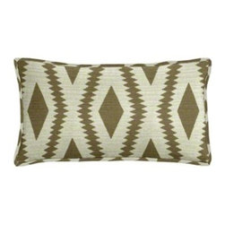 "Cushion Source - Frontier Ogee Taupe Lumbar Pillow - The 20"" x 12"" Frontier Ogee Taupe Lumbar Pillow features an upholstery weight fabric with a geometrical ogee pattern in taupe on a beige background"