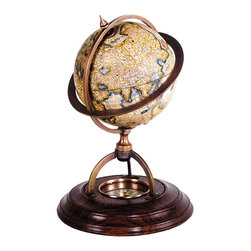 "Inviting Home - Terrestrial Globe with Compass - Terrestrial globe with compass 5-3/4"" x 8-1/8""H Classic globes without a matching compass were considered incomplete. Our wonderfully constructed bronze and wood stand with paper globe includes true reproduction of 17th C. �dry� compass. Twelve paper gores applied to the globe are printed after originals drawn by Gerardus Mercator the inventor of the Mercator projection which was used from the 16th C. until the middle of the 20th C. Scientific decorative historical"