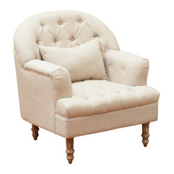 Great Deal Furniture - Nelson Tufted Fabric Arm Chair, Sandy Beige - The Nelson Tufted Chair is a great piece for any room in your home. The tufted detail on the backrest and matching throw pillow gives this chair a touch of elegance, while still retaining all of the comforts of an upholstered chair. With a unique mod look this chair makes a great statement piece.