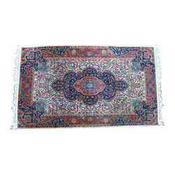 "Handwoven Silk Wool Rug - 5' 2"" x 3'1"" - Beautiful handwoven vintage silk wool rug.  Classic Persian weave and design. The feel of this rug is amazing. Thick and plush with very strong tight weave. This is the real deal. Just gorgeous. Price is firm. Priced to sell."