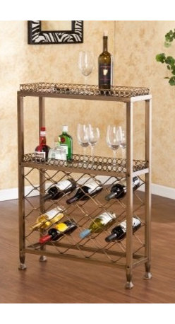 Southern Enterprises Malbec Wine Storage Bar - Showoff your best wines with the Malbeck Wine Storage Bar by Southern Enterprises. This great piece is not only decorative its funtional. Distinctive style and ample storage requires minimal space. Ideal in any room and perfect when entertaining. Features 2 glass shelves with 5mm tempered glass and 1 inch lip around the rim. Metal construction with square tube metal and a beautiful antique oiled bronze finish. The lattice style wine rack accomodates up to 25 bottles. Maxium weight capacity 25 lbs. per shelf. Overall dimensions: 28W x 9D x 20.75H inches. Top shelf: 27W x 8D x 1H inches. Bottom shelf: 27W x 8D x 14.25H inches. Space beneath unit: 3.75H inches. The Syrah Riddling Sandwich Board Wine Rack - 36 by Southern Enterprises holds up to 36 wine bottles. The sandwich board or A-Frame style simply supports itself with peg holes to house and display your most popular wine. Constructed from Fir wood with weathered oak finish giving it a unique antique look with the wood plank and deep beautiful wood grain showing through. Folds flat for storing when not in use. Displayed dimensions: 15.5W x 27.5D x 42.25H inches. About SEI (Southern Enterprises Inc.)This item is manufactured by Southern Enterprises or SEI. Southern Enterprises is a wholesale furniture accessory import company based in Dallas Texas. Founded in 1976 SEI offers innovative designs exceptional customer service and fast shipping from its main Dallas location. It provides quality products ranging from dinettes to home office and more. SEI is constantly evolving processes to ensure that you receive top-quality furniture with easy-to-follow instruction sheets. SEI stands behind its products and service with utmost confidence.